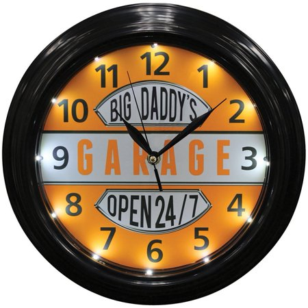 Big Daddys Garage Clock  From Us Brand Sign Of The Times