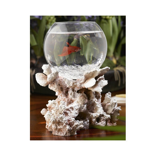 Creative Design Group Betta Treasures Blue Lagoon Fossilized Coral Aquarium