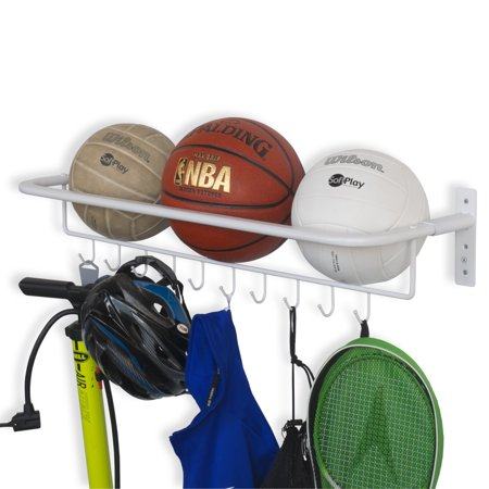 Wall Mount Metal Sports Ball And Gear Equipment Organizer Hanging Rack With Hooks In White 32 Inch Long