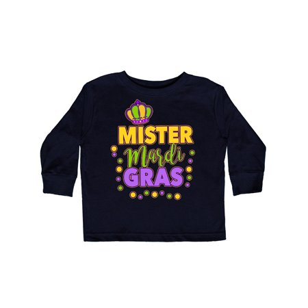 Mister Mardi Gras with Crown and Dots Toddler Long Sleeve T-Shirt](Toddler Mardi Gras Outfits)