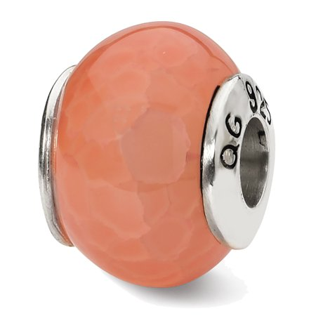 Lex & Lu Sterling Silver Reflections Orange Cracked Agate Stone Bead