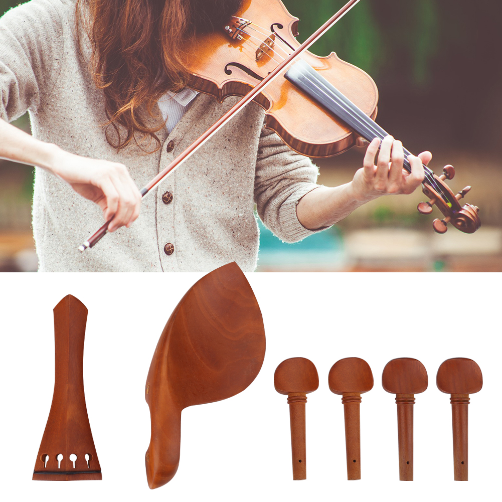 1Set Jujube Wood Violin Parts 4 4 Fittings Chinrest Pegs Tailpiece Tunners Endpin Jujube... by