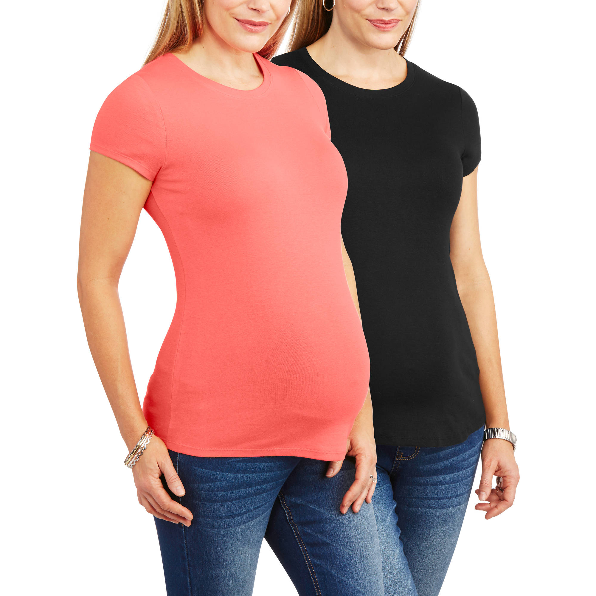 Faded Glory Maternity Crew Neck Tee, 2-Pack