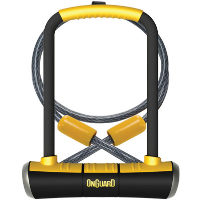 """OnGuard PitBull U-Lock DT with Cable and Bracket: 4.5 x 9"""", Black/Yellow"""