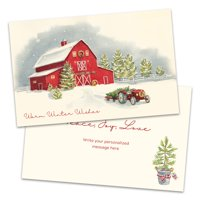 Personalized Classic Snowy Red Bard Folded Holiday Greeting Card