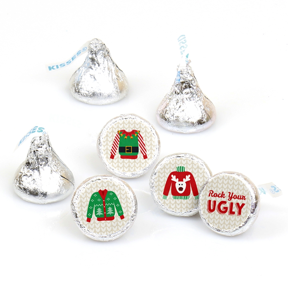 Ugly Sweater - Holiday & Christmas Party Round Candy Sticker Favors - Labels Fit Hershey's Kisses (1 sheet of 108)