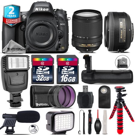 Nikon D610 DSLR Camera + AFS 18-140mm VR + 35mm f/1.8 + LED Kit + Flash +