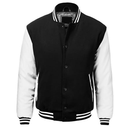 Men's Premium Classic Snap Button Vintage Baseball Letterman Varsity -