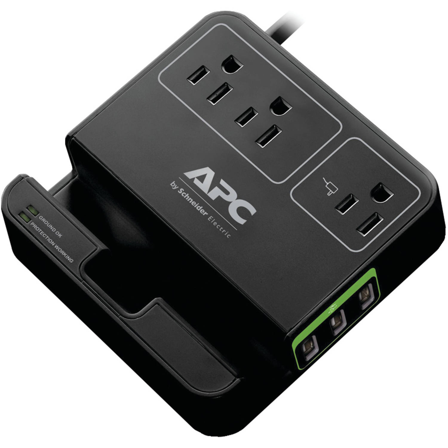 APC P3U3B 3-Outlet SurgeArrest Surge Protector with 3 USB Ports, Black