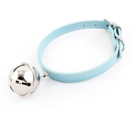 Faux Leather Belt Metal Pin Buckle Bell Pendant Pet Cat Dog Collar Blue Size S