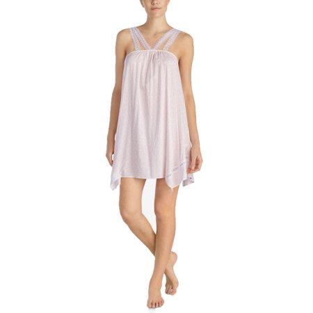 Betsey Johnson Lace-Strap Asymmetrical-Hem Chemise Pink Ivory X-Small