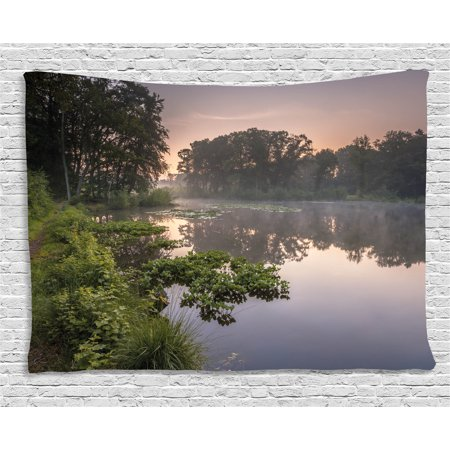 Forest Tapestry, Lake in Natura Reserve Springendal Netherlands Foggy Morning in Woods Ecology, Wall Hanging for Bedroom Living Room Dorm Decor, 60W X 40L Inches, Green Purplegrey, by Ambesonne