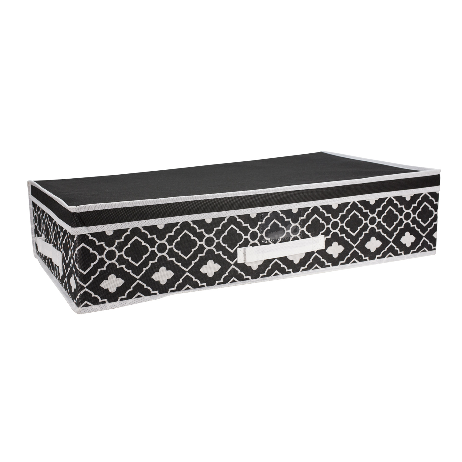 Home Basics Ana Davis Under Bed Lattice Storage Box, Black and White