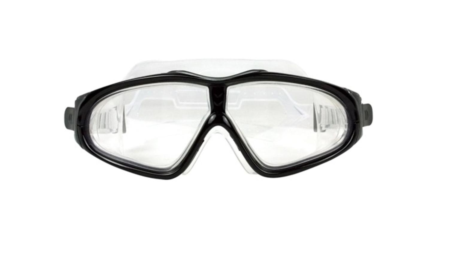 """7"""" EZ Fit DLX Sport Black Goggles Swimming Pool Accessory for Adults and Children by Swim Central"""
