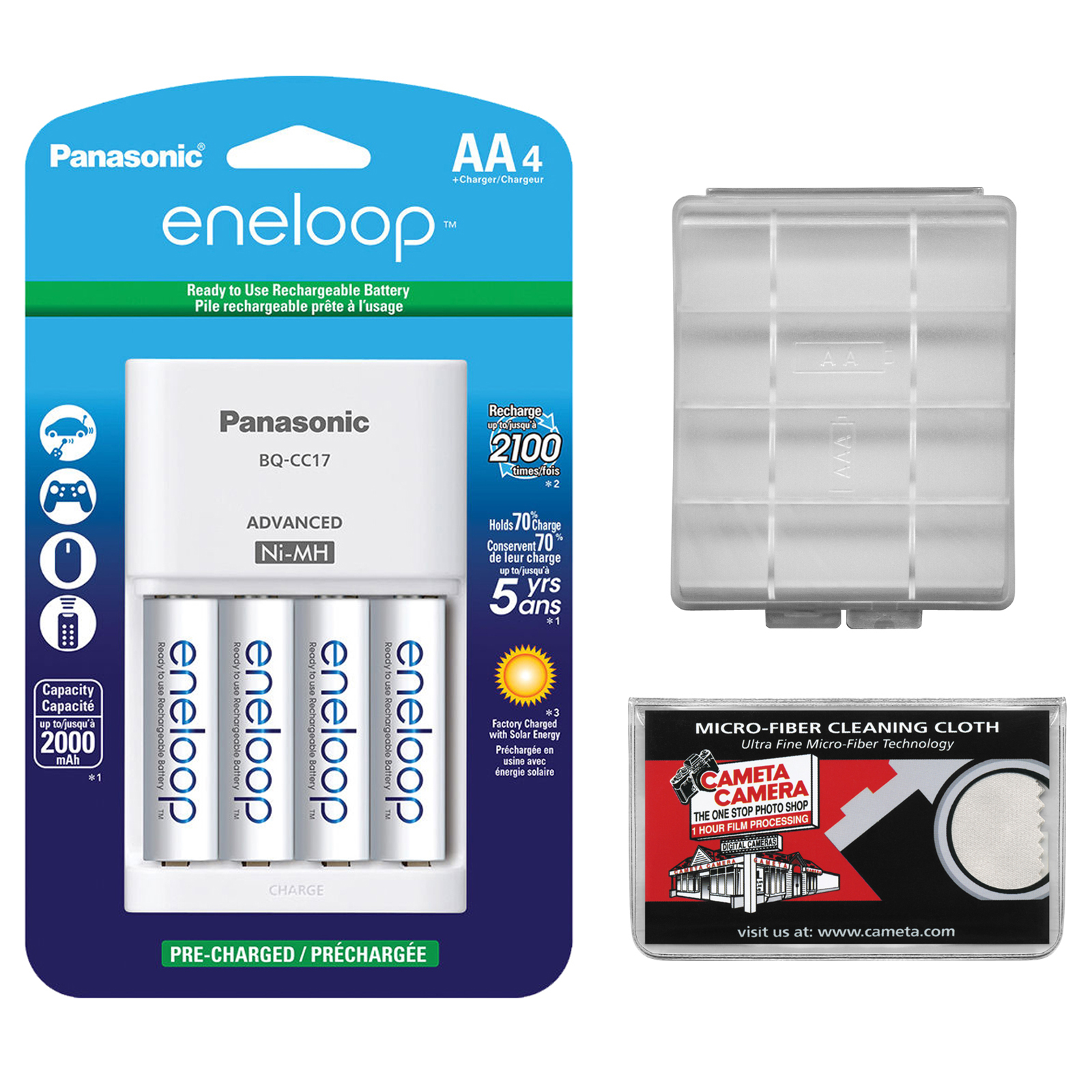 Panasonic eneloop (4) AA 2000mAh Pre-Charged NiMH Rechargeable Batteries & Charger with AA Battery Case + Microfiber Cleaning Cloth