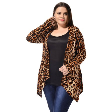 Cheetah Print Cardigan - Women's Plus Size Long Sleeve Fashion Asymmetric Open Front Leopard Print Cardigan Beige 1X
