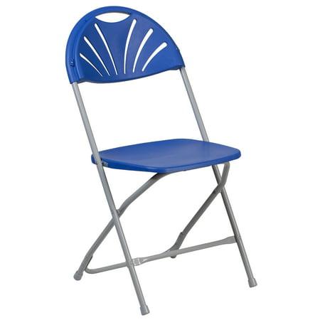 Flash Furniture HERCULES Series 650 lb. Capacity Blue Plastic Fan Back Folding