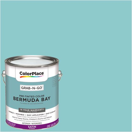 ColorPlace Pre Mixed Ready To Use, Interior Paint, Satin Finish, Bermuda Bay, 1 Gallon