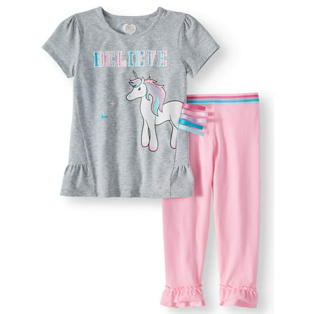 Peplum Top and Ruffle Legging, 2-Piece Outfit Set (Little Girls & Big Girls)](Outfits From Different Decades)