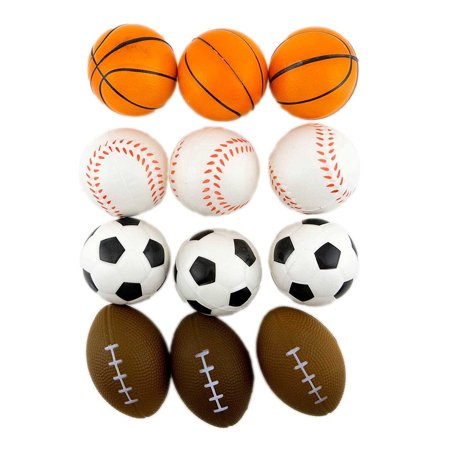 12 Stress Sport Ball Sponge Balls Foam Ball Basketball Football Soccer Baseball, Squeeze your stress away with a spongy stress ball in the form of your favorite sport!](Stress Balls With Logo)