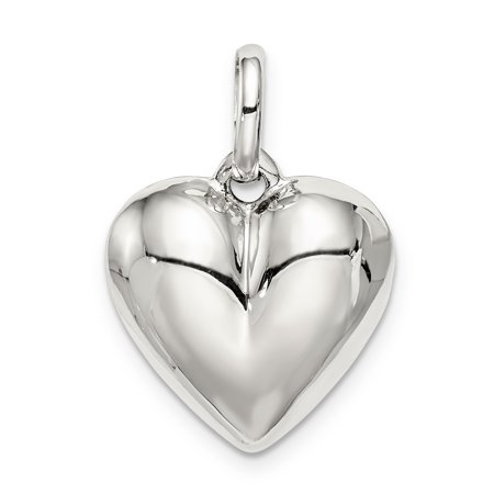 925 Sterling Silver Heart Pendant Charm Necklace Love Puffed Fine Jewelry For Women Valentines Day Gifts For Her - image 5 de 5