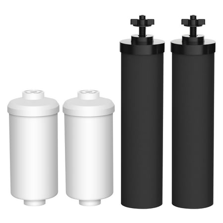 AQUACREST BB9-2 & PF-2 Replacement for Black Berkey Filters (BB9-2) & Berkey Fluoride Filters (PF-2) Combo Pack - Includes 2 Black Element and 2 Fluoride (Best Water Filter Pitcher For Fluoride)