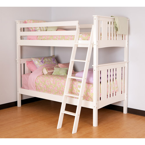 Canwood Base Camp Twin over Twin Bunk Bed with Angled Ladder, White