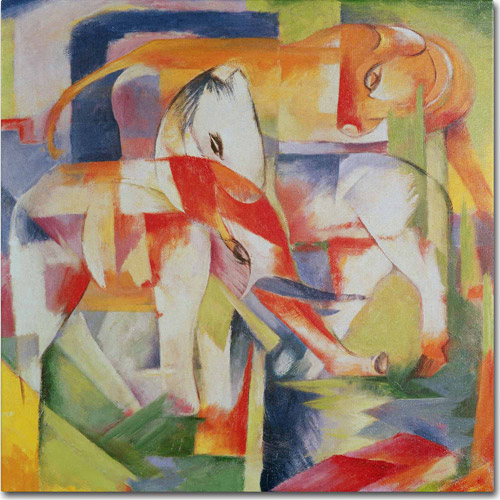 "Trademark Fine Art ""Elephant, Horse and Cow, 1914"" Canvas Art by Franz Marc"