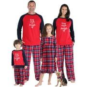 SleepytimePjs Holiday Family Matching Fleece Pajama, Red and Blue Plaid