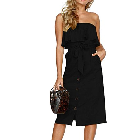 Women Summer Backless Ruffle Button Down Strapless Midi Dress with Pocket