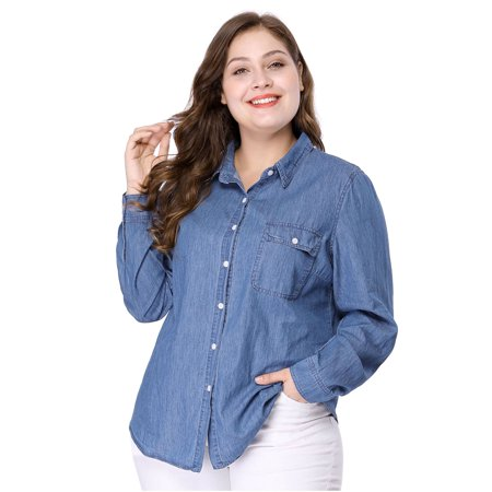 Women's Plus Size Long Sleeve Chest Pocket Chambray Shirt Blue 3X