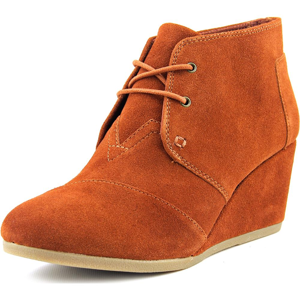 New Toms Desert Wedge Cognac Suede 8 Womens Shoes