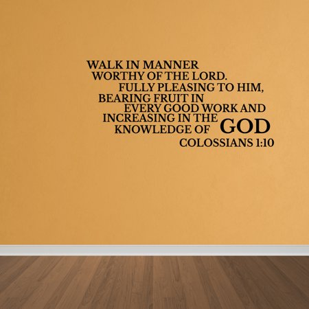 Wall Decal Quote Walk Worthy Colossians 1:10 Vinyl Lettering Wall ...