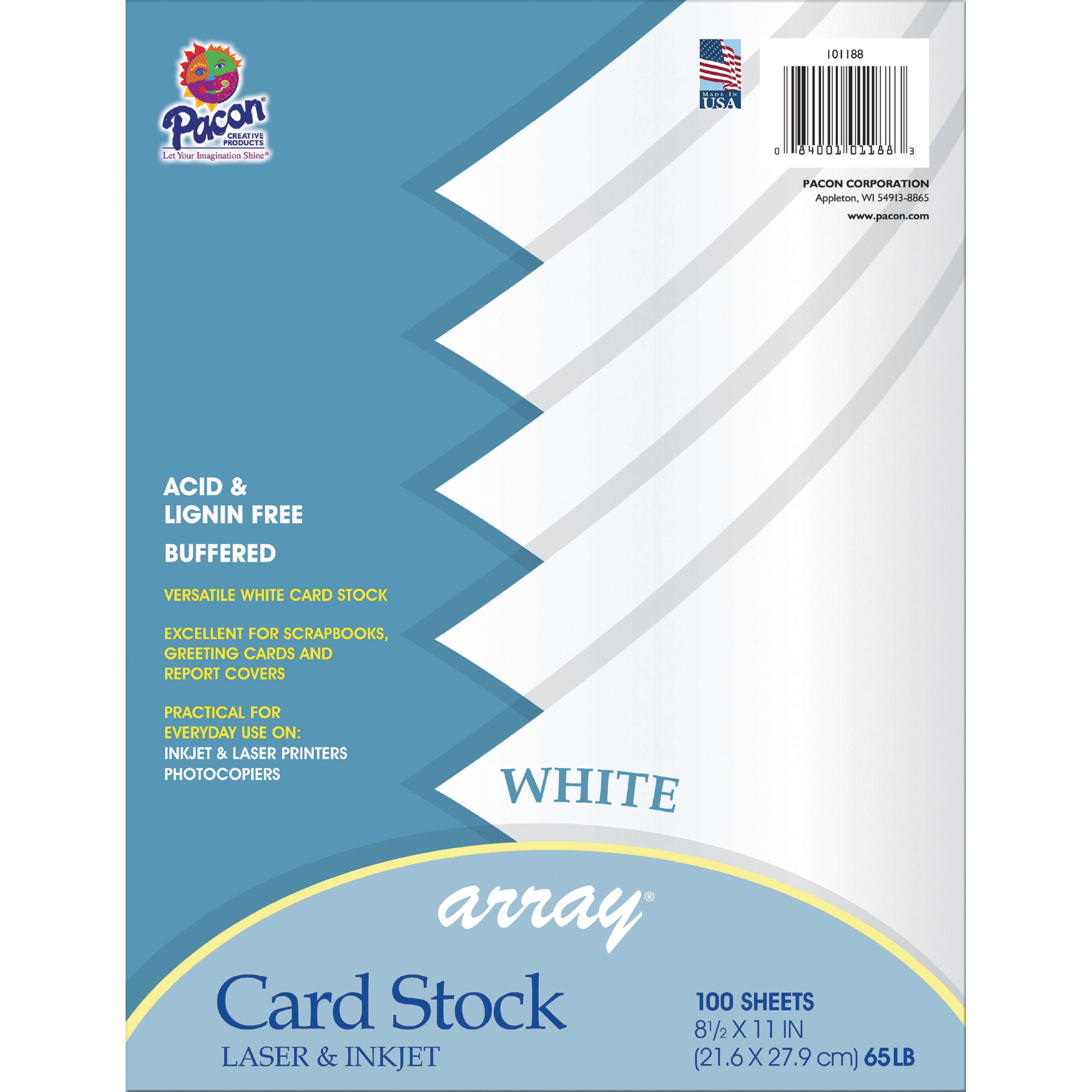 """Pacon Card Stock, 8.5"""" x 11"""", White, 50 Sheets"""