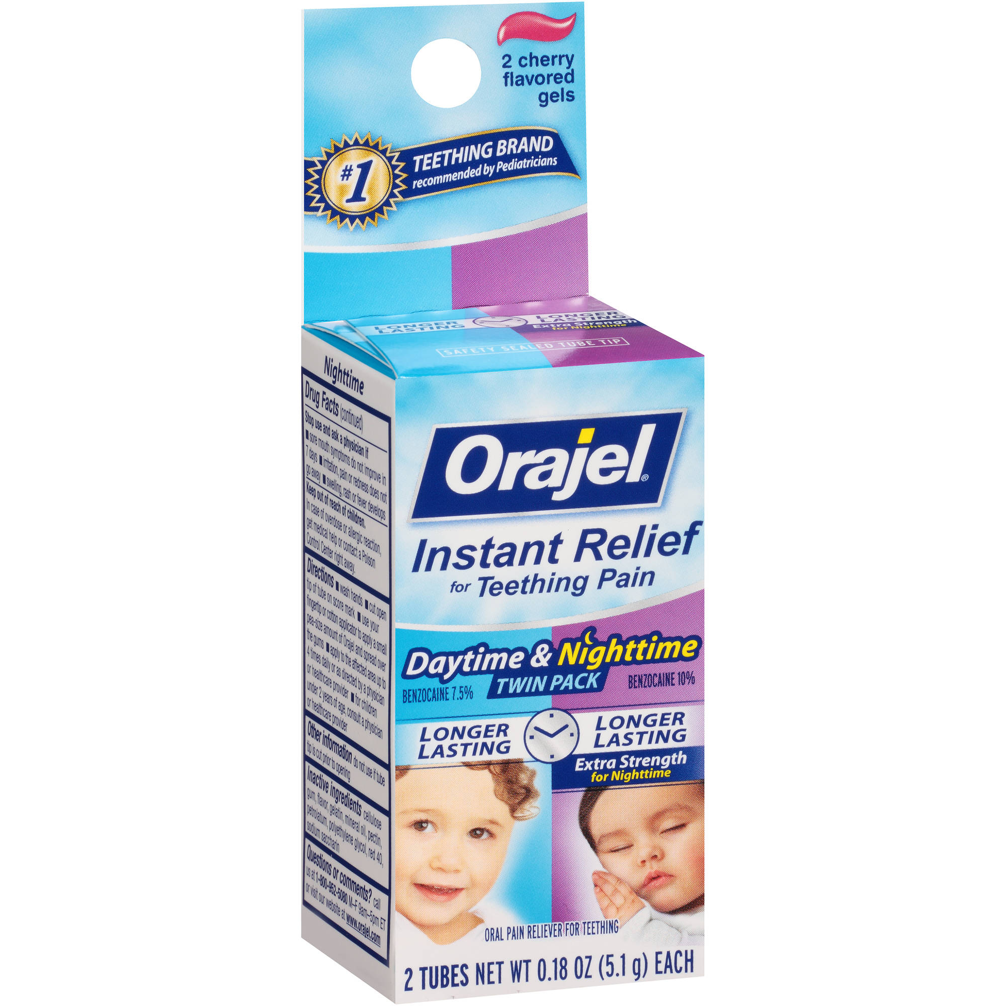 Baby Orajel Daytime & Nighttime Formulas For Teething Oral Pain Reliever Tubes, 2ct