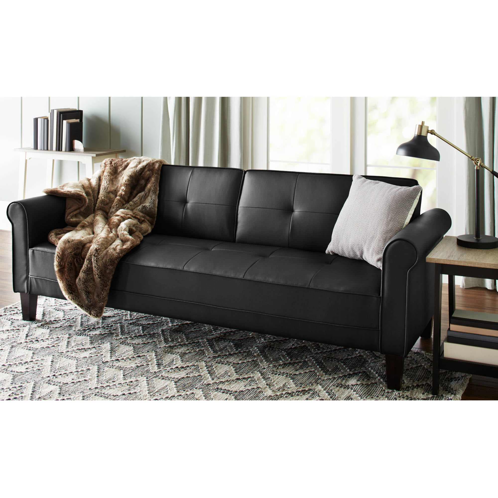 leather faux fold down futon sofa bed couch sleeper furniture lounge convertible walmartcom