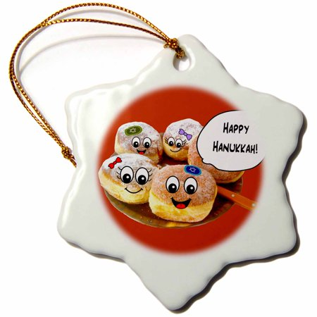 3dRose Red Cute Happy Hannukah smiley cartoon donuts - for channukah - chanukah - hanukah - doughnuts - Snowflake Ornament, 3-inch - Hanukkah Ornaments