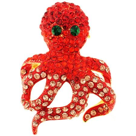 Swarovski Crystal Butterfly Brooch (Red Octopus Swarovski Crystal Pin Brooch And)