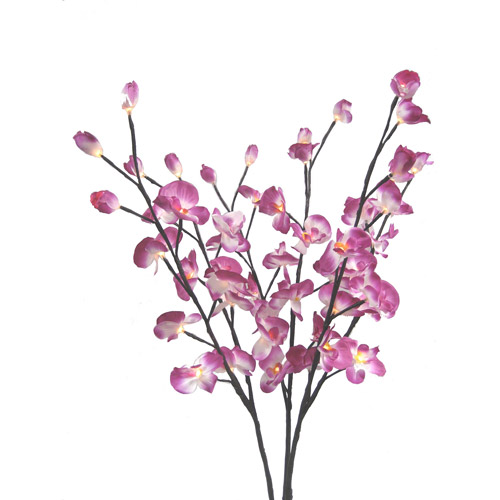 Creative Motion Lighted Orchid Flowers, Set of 3, Purple