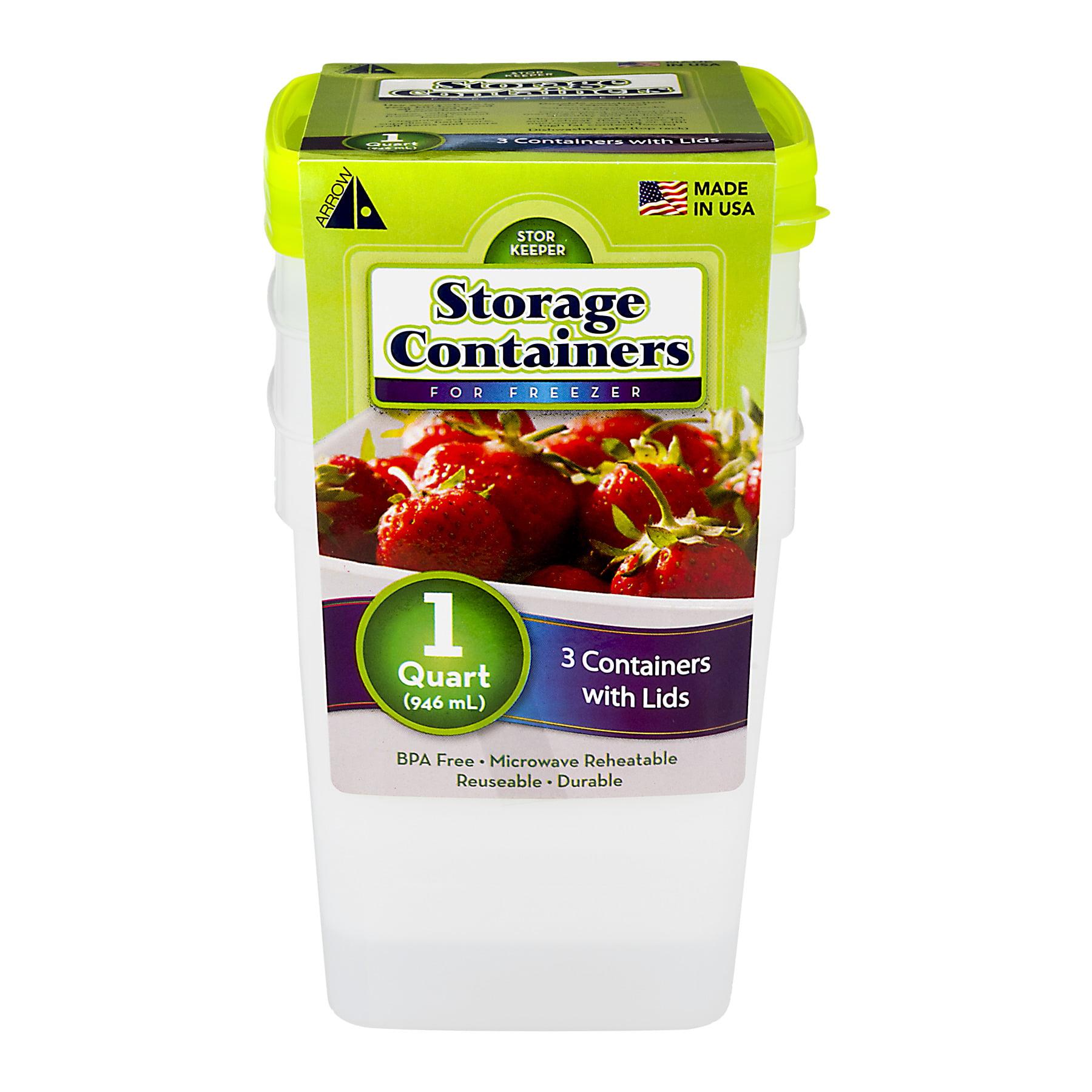 Arrow Storage Containers for Freezer (1 Quart) - 3 CT3.0 CT