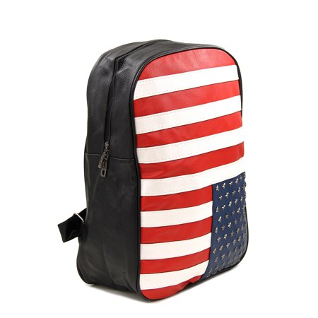 Premium Full US American Flag Studded PU Leather Backpack School Shoulder Bag