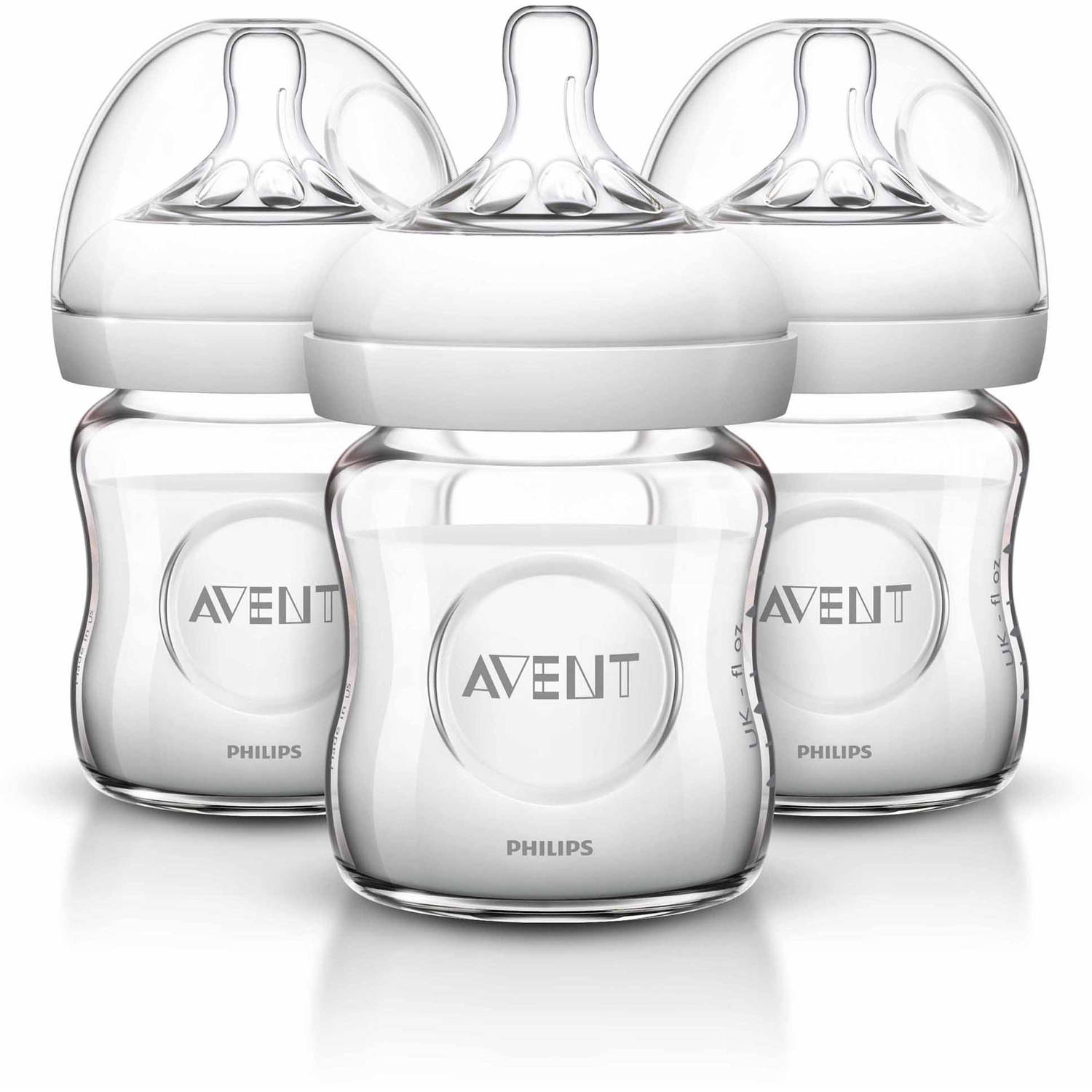 Philips Avent BPA Free Natural Clear Glass Baby Bottles, 4 Ounce, 3 Pack