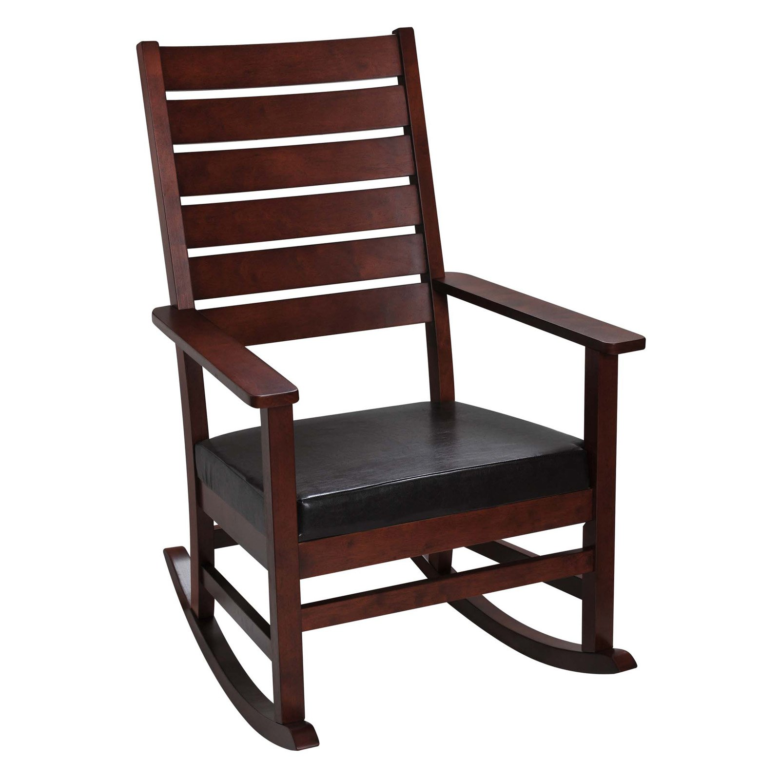 Gift Mark Mission Style Wooden Ladder Back Rocking Chair with Upholstered Seat