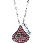 "Hershey's Kisses Women's CZ Sterling Silver Medium Flat Back July (Black Rhodium) Pendant, 16"" with 2"" Extension"