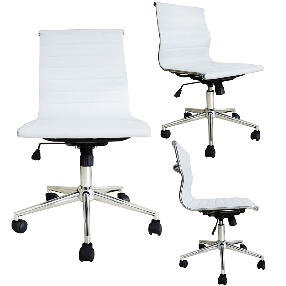 2xhome White Mid Century Modern Contemporary Executive Office Chair Mid Back Pu Leather No Arm Rest Arms Tilt Adjustable Height With Wheels Back Support Task Work Chrome Manager Armless Ergonomic Walmart Com
