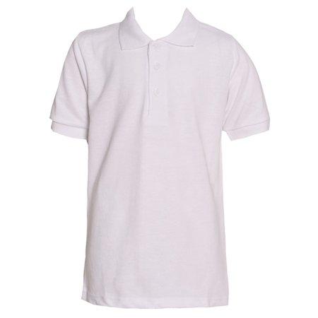Authentic Galaxy Little Boys White Three Button Polo School Uniform Shirt ()