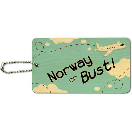 Norway or Bust Flying Airplane Wood ID Tag Luggage Card for Suitcase or Carry-On