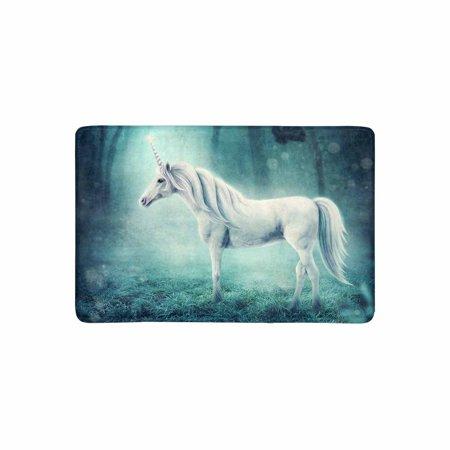 MKHERT White Unicorn in a Dark Forest Doormat Rug Home Decor Floor Mat Bath Mat 23.6x15.7 inch - Unicorn In Forest