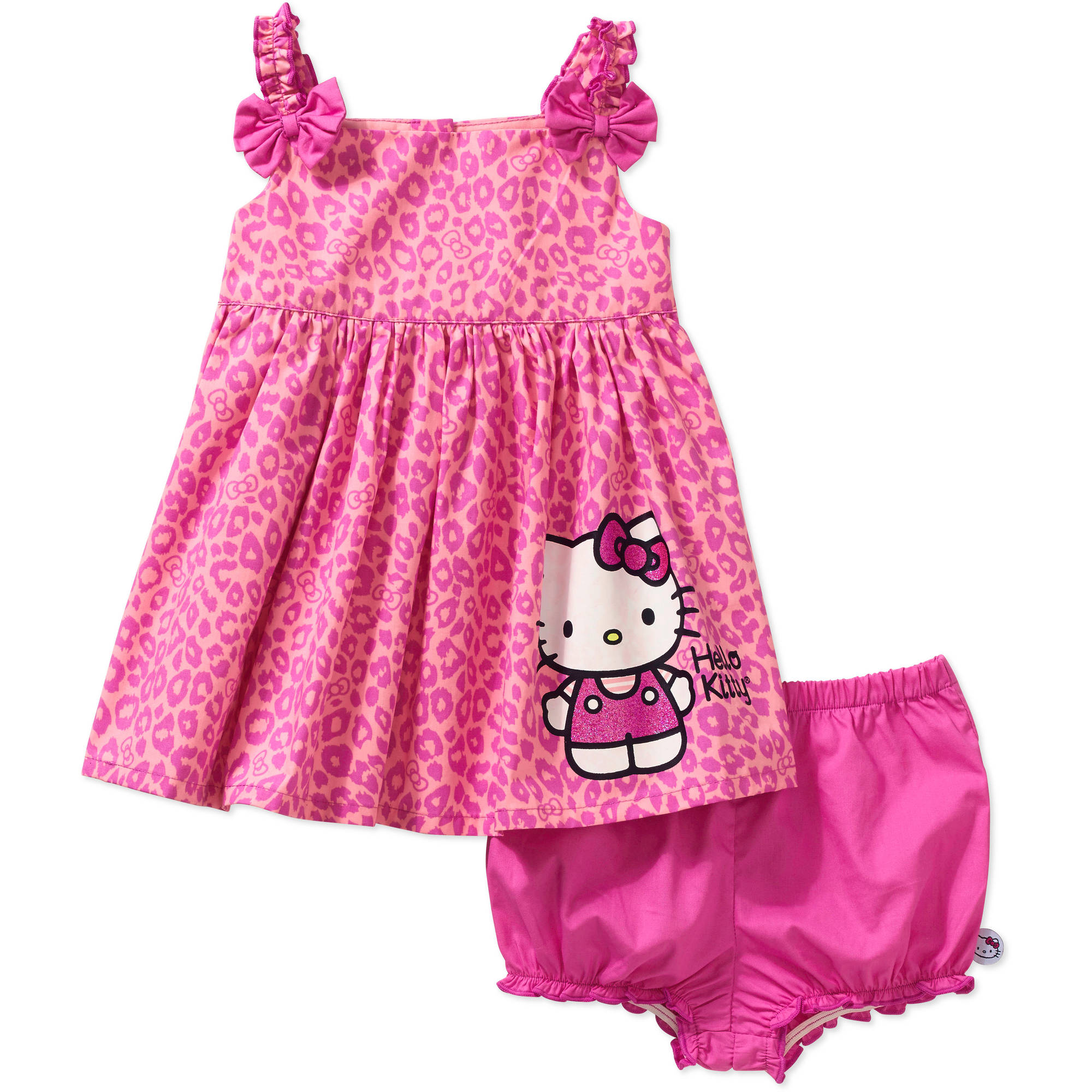 Hello Kitty Newborn Baby Girl Woven Sundress 2 Pc Set