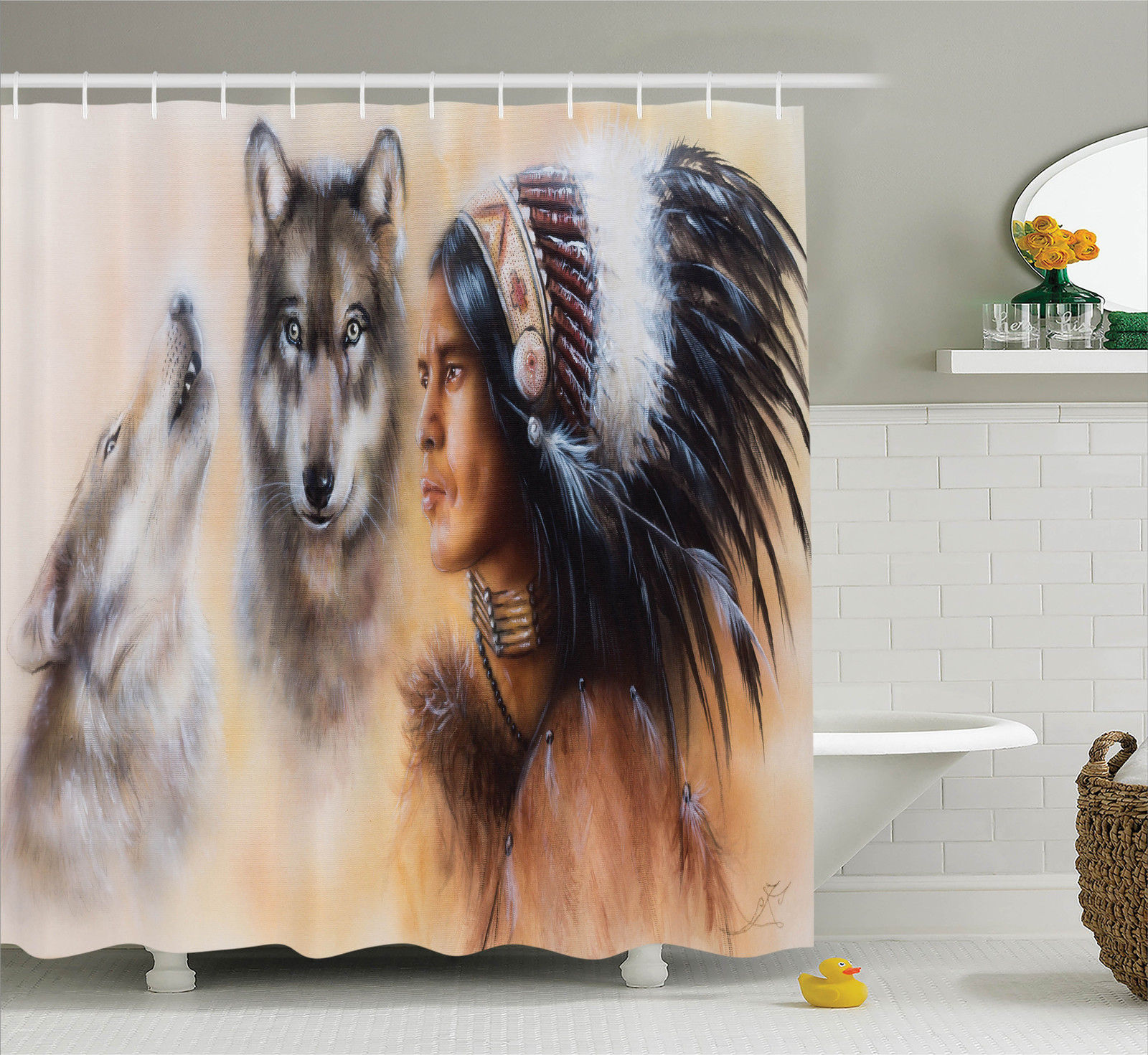Native American Decor  Blur Mystic Painting Of Young Indi...